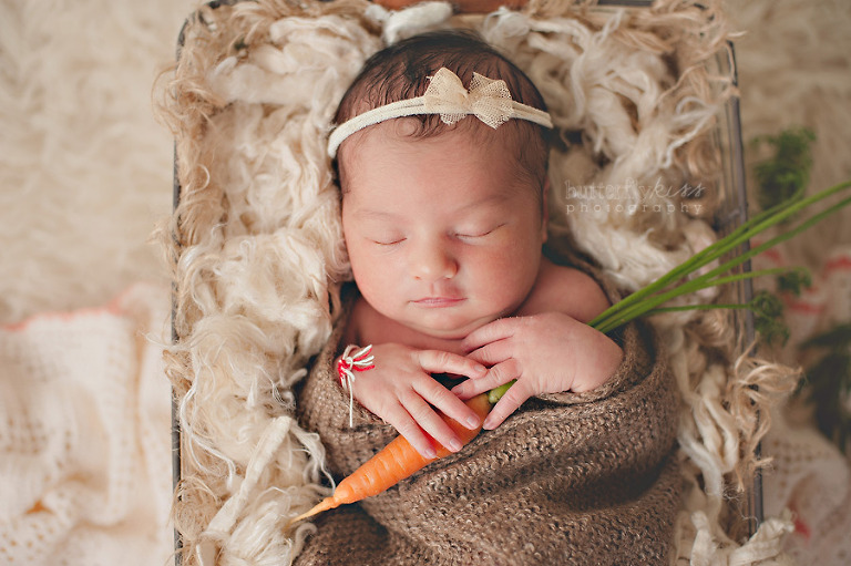 organic newborn baby photo with carrot, Peter Rabbit theme