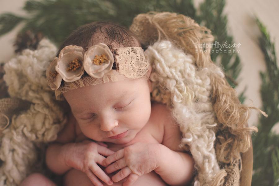 Tacoma Beautiful Newborn Baby organic green natural real branches wool knit burlap layers