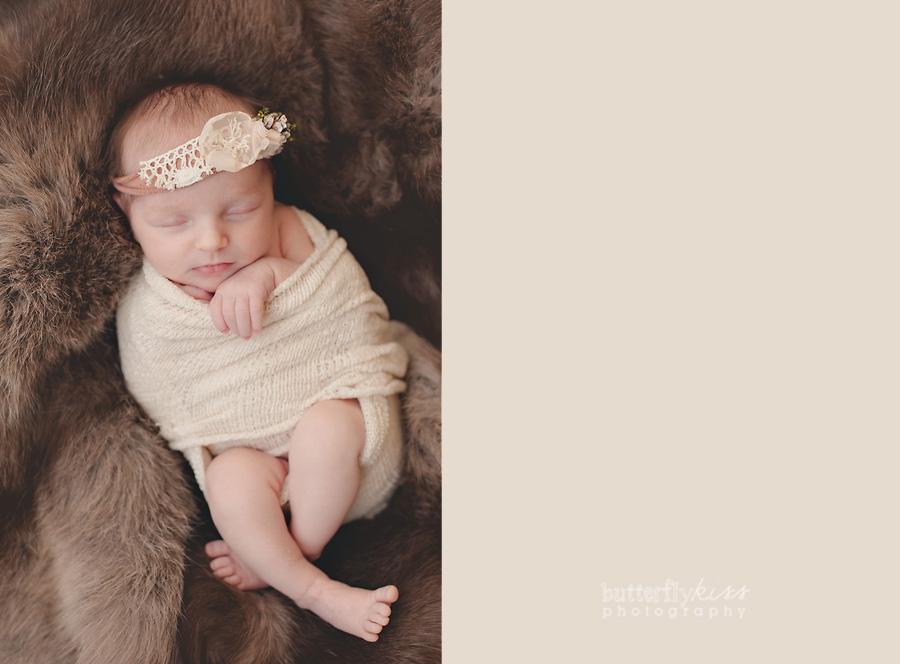Tacoma Beautiful Newborn soft real fur pelt brown cream floral headband natural