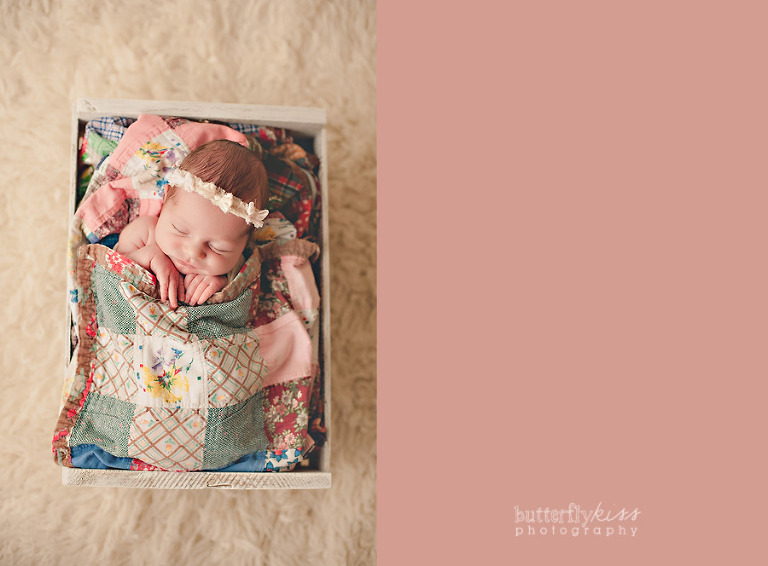 vintage quilt baby tucked in bohemian pastel earthy colors