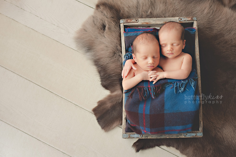 Seattle Tacoma Newborn Twin Baby Boys Pictures Pacific Northwest style fur plaid