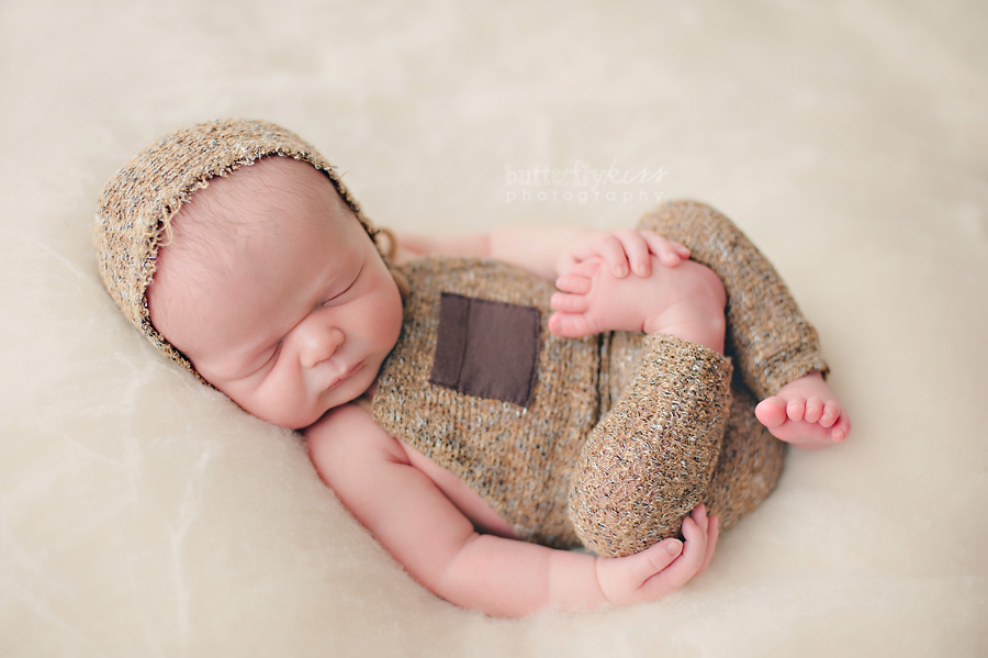 Tacoma Newborn Pictures Farm Baby Johann brown overalls hat