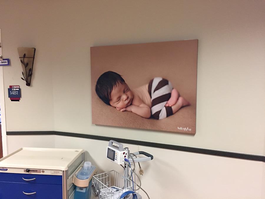 Tacoma newborn photographer St Joseph Hospital tushie up baby handmade tiny pants stripes earthy cute hispanic baby with lots of dark brown hair neutral tones