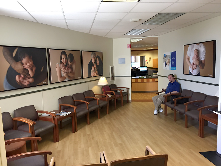 Tacoma newborn photographer St Joseph Hospital waiting room photos large canvases with frames framed canvas prints dad mom family same sex couple twins