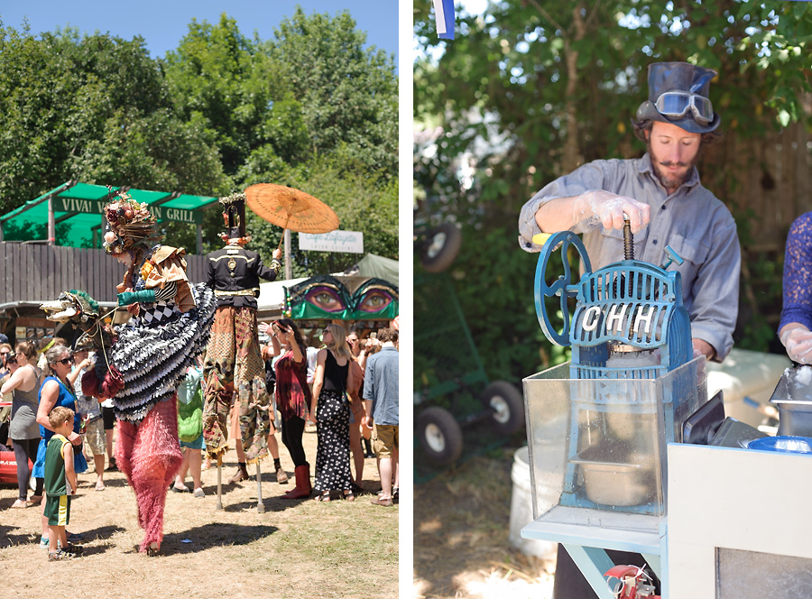 oregon country fair 2017 with kids stilt walker oold fashioned shaved ice machine hand crank