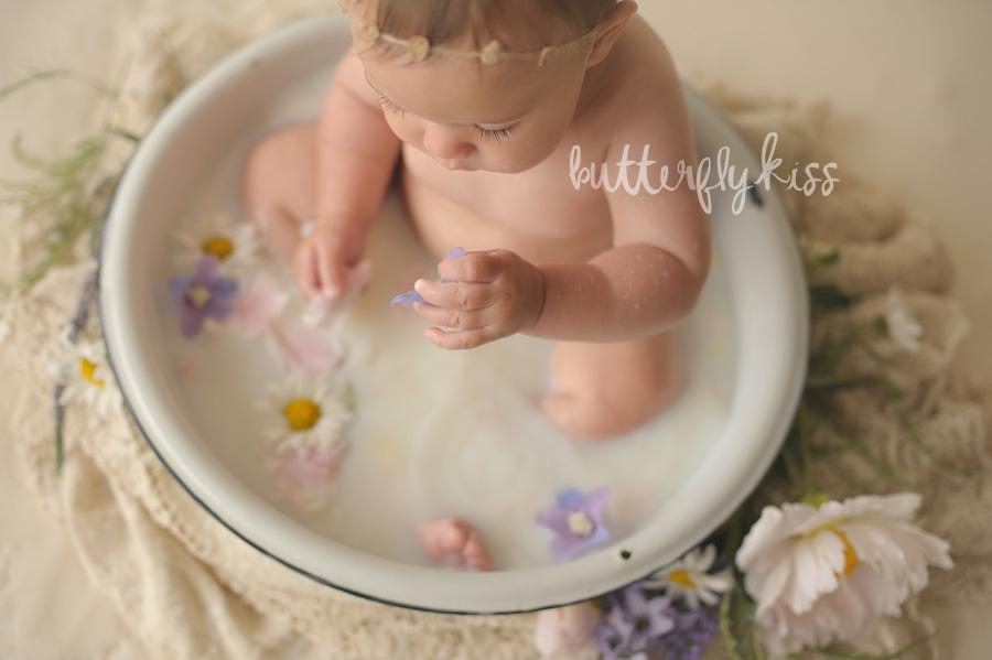 baby milk bath photography Tacoma newborn photographer