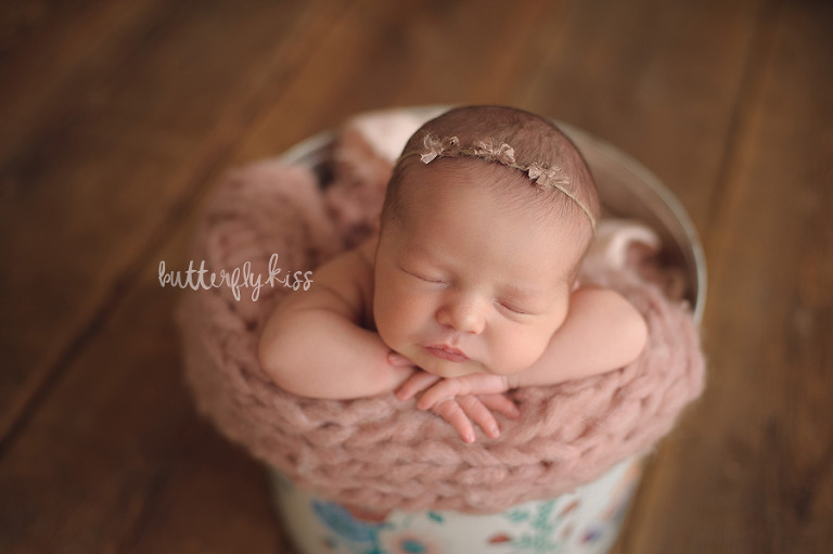 Tacoma newborn photographer Butterfly Kiss Photography baby Gwendolyn bucket pose pink cashmere blanket