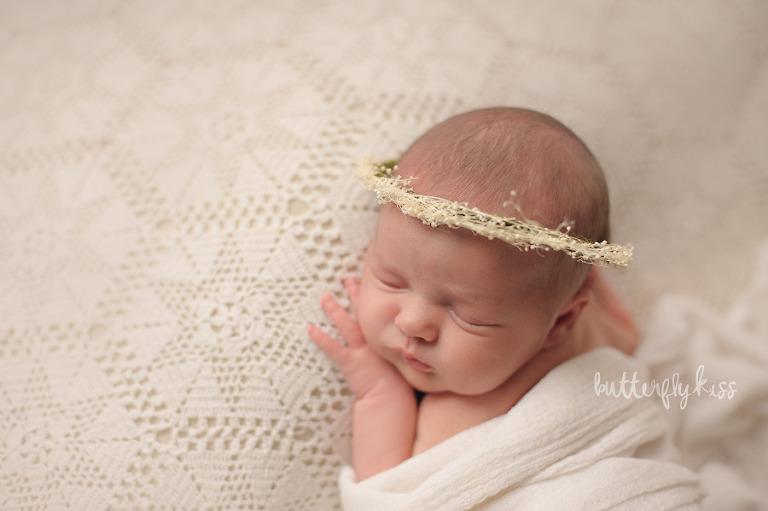 Tacoma newborn photographer Butterfly Kiss Photography baby Gwendolyn vintage lace dried floral halo crown