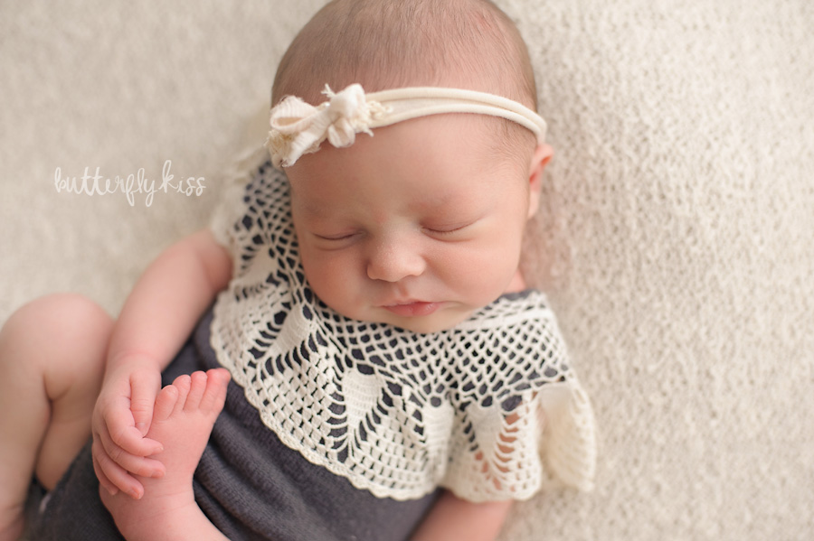 Tacoma newborn photographer Butterfly Kiss Photography baby Gwendolyn olive and elm upcycled romper grey cream lace vintage neutral