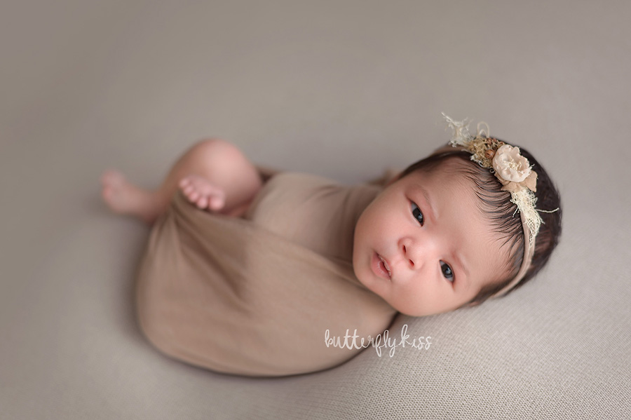 Tacoma newborn photographer summer baby girl butterfly kiss photography