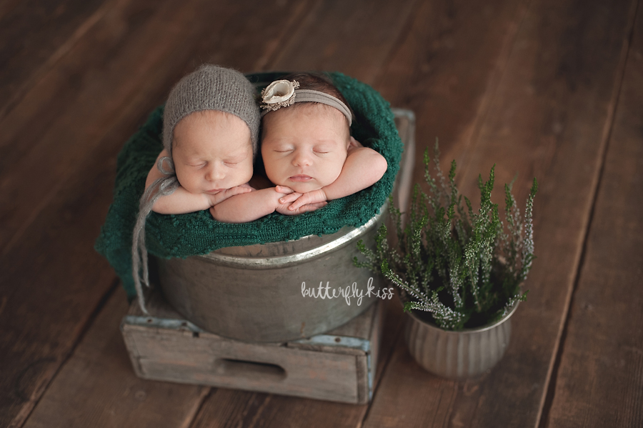 Tacoma newborn photographer baby twins twin pictures studio session by Butterfly Kiss Photography earthy boho inspired