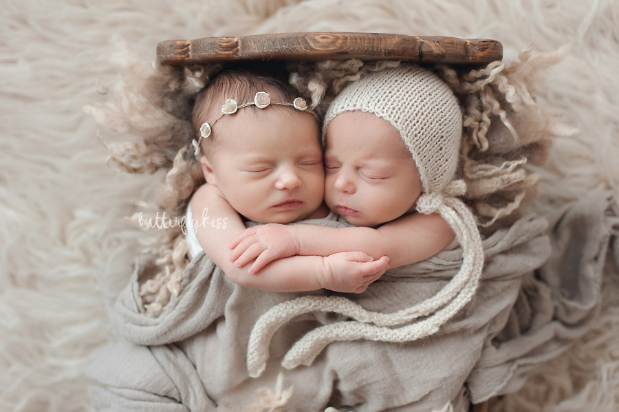 Tacoma newborn photographer baby twins twin pictures studio session by Butterfly Kiss Photography