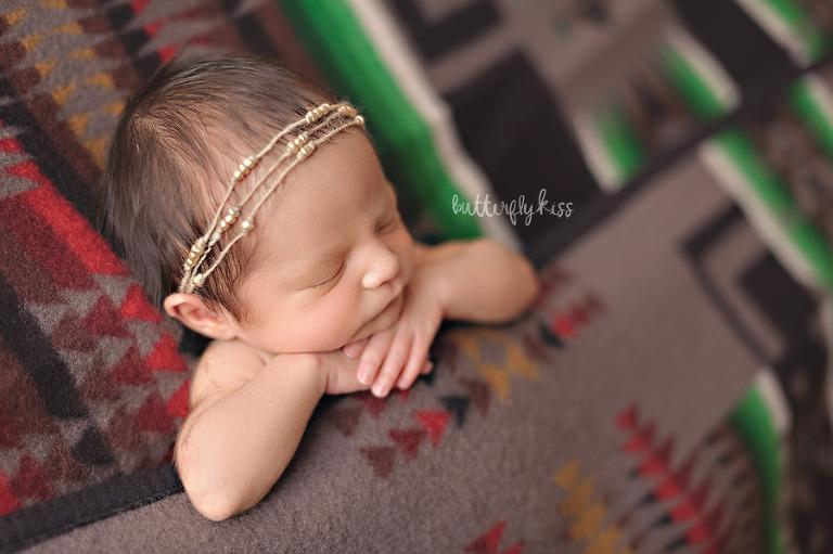 tacoma newborn photographer native american baby session pendleton wool blanket beaded headband
