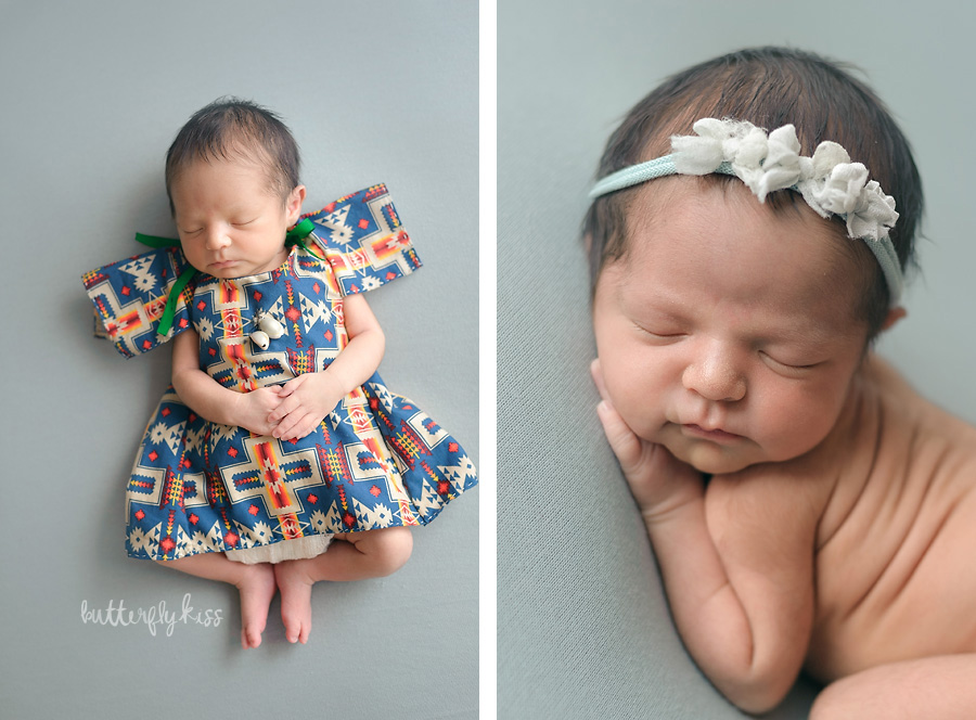 tacoma newborn photographer native american baby session native regalia pow wow dance girl feathers wing dress