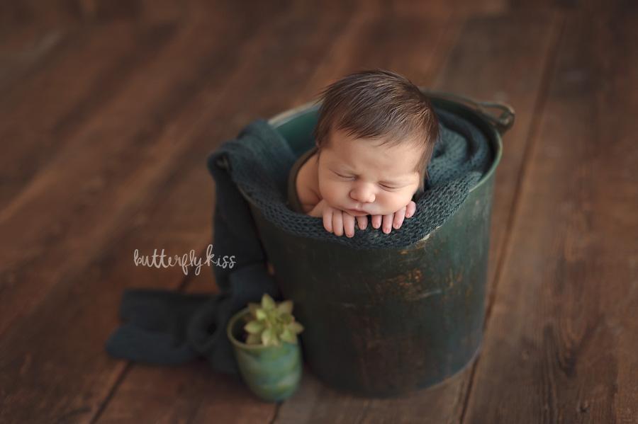 Tacoma newborn photographer Adler green bucket pose with succulent